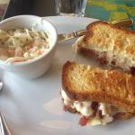 Rueben with gluten free bread and coleslaw