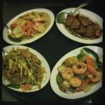 King Prawns in Chilli Sauce, Roast Pork (Chinese Style),  and Special Chow Mein