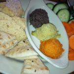 Yummy and waist friendly hummus plate