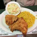 Fried chicken, coleslaw, corn
