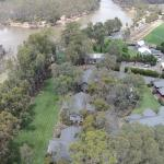 Arial view of Deeluxe Riverspa Retreat, river and grounds