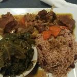 Curry Goat with Jamaican Rice & Beans w/ Collard Greens