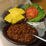 Steak burger and baked beans