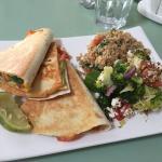 My tasty veggie quesadilla with salads