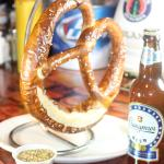 The pretzel is imported from Germany and is a meal itself.