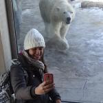 Minha filha tentando fazer uma selfie com o urso polar