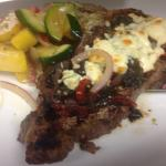 NY Strip with Italian Pepper Medley