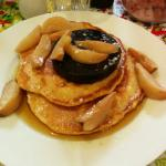Pancakes with black pudding and roast pears