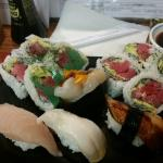 Michigan Roll with Eel, scallop, and yellowtail