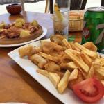 Pulpito a la gallega y curritos de pescado! Exelente