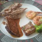 Salmon,  beef, lamb