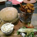 Burger and sweet potato fries!
