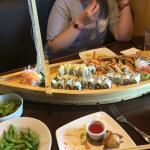 A boat load of sushi! 6 different rolls on this boat!!