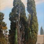 Martinus Rørbye: Michelangelo's Cypresses in the Monastery in the Baths of Diocletian