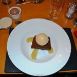 chocolate terrine with pear sorbet