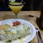 My passion fruit margarita and pork burrito.