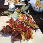 steak and roasted corn