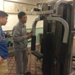 Broken weight machine in the gym