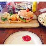 Paneer burger, chicken Caesar salad and cold coffee