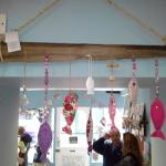 fabric fishes and driftwood - locally made