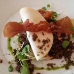 Dorset Snails, Celeriac, Black Garlic, Pied de Mouton Mushrooms, Crispy Bacon & Bone Marrow