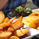 Lovely wedges & chips . Really nice wrap & salad.