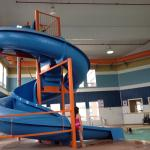 Waterslide/pool area. Nice and bright! It would be nice to have towels in this area but you just