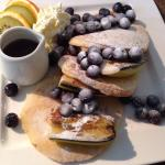Pancakes with fresh blueberries & bananas