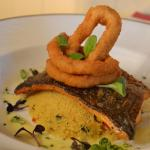 Fillet of Sea Trout With breaded calamari &  spicy cous cous.