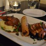 3 way Duck . Con-fit leg, grilled  breast  &   spring roll