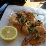 Spicy Sea bass and Garlic Prawns.