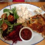 Roast vegetable quiche and salad including superb tomato chutney
