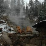 Source of hot spring on mountain