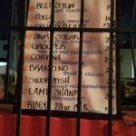 The menu!!