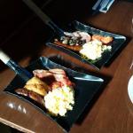 Breakfast served on firemen's spades!