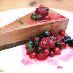 Chocolate cake with berry compot