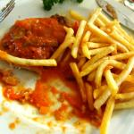 Schnitzel with sauce and french fries,very good indeed!