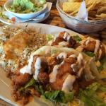 Buffalo shrimp taco. Separate order of guacamole