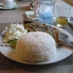 Fried reef fish with white rice & salad