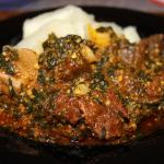 Tornam Spinach and boiled yams