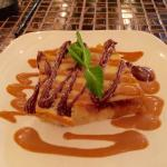 Bread pudding w/ chocolate and caramel sauce.