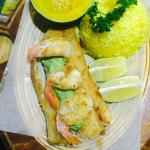 Grilled Dorado with a spicy coconut prawn tail sauce