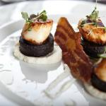 Seared King Scallops, Boudin Noir, Cauliflower Puree and Crispy Bacon