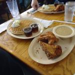 the food! fried chicken and waffles!