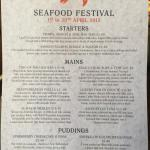 The Seafood Special Menu but book early as the Prawns might run out