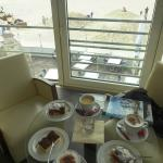 Great cakes and great view of the sea & beach