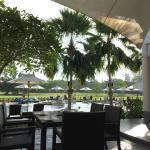 Having a breakfast beside the pool