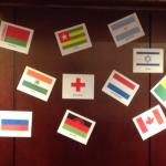 Reception area decorated for our international guests! Thank you!