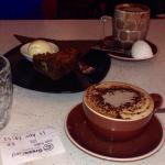 Hot chocolate, mocha, and brownie. Yum!