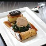 Trio of Pork - roasted loin, braised cheek and pulled pork sausage roll.